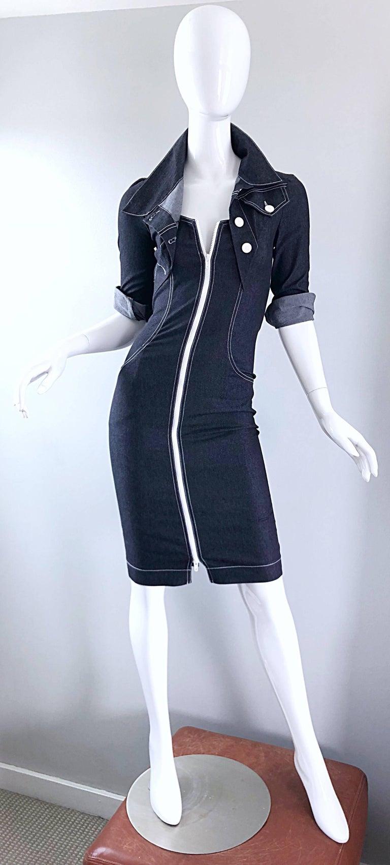 Vintage Angelo Tarlazzi 1990s Denim Bodycon Faux Bolero 90s Blue Jean Dress For Sale 3