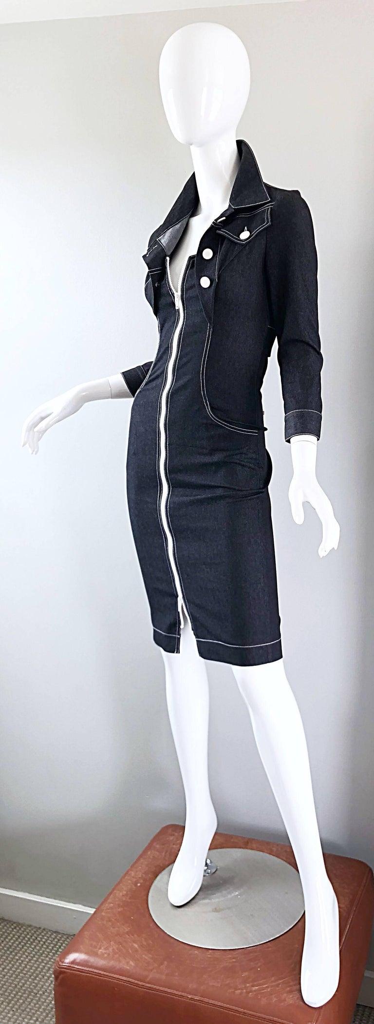 Vintage Angelo Tarlazzi 1990s Denim Bodycon Faux Bolero 90s Blue Jean Dress For Sale 4