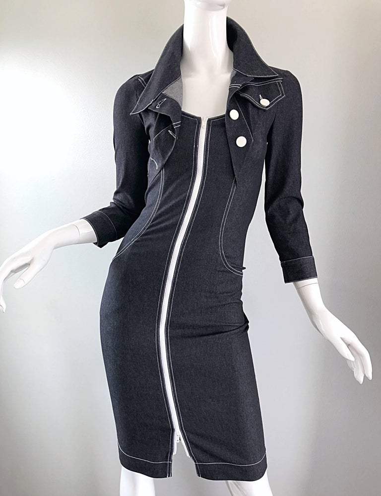 Vintage Angelo Tarlazzi 1990s Denim Bodycon Faux Bolero 90s Blue Jean Dress For Sale 5