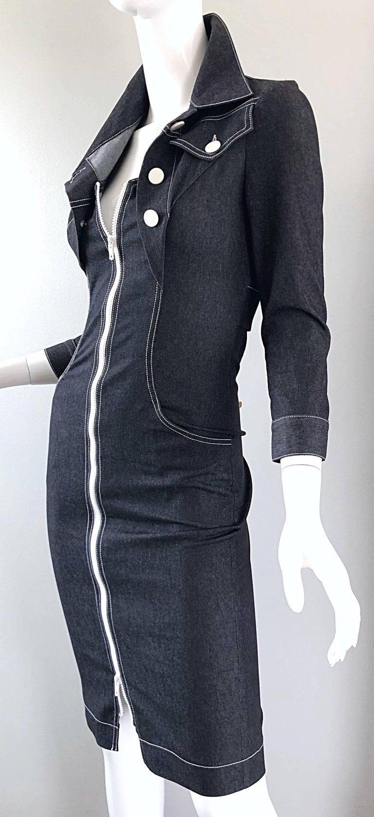 Vintage Angelo Tarlazzi 1990s Denim Bodycon Faux Bolero 90s Blue Jean Dress For Sale 6