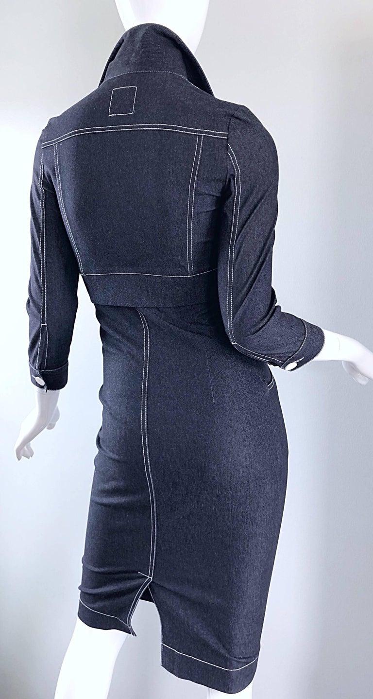 Vintage Angelo Tarlazzi 1990s Denim Bodycon Faux Bolero 90s Blue Jean Dress For Sale 7