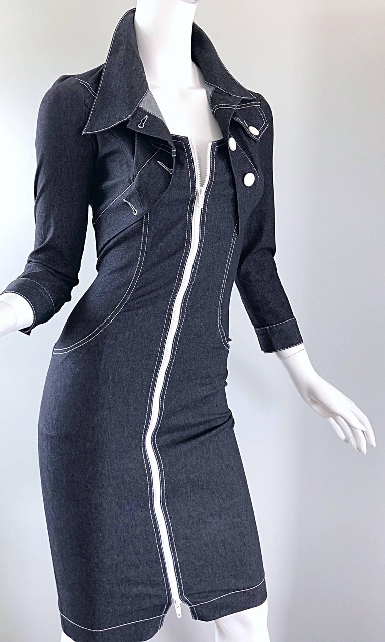Vintage Angelo Tarlazzi 1990s Denim Bodycon Faux Bolero 90s Blue Jean Dress For Sale 8