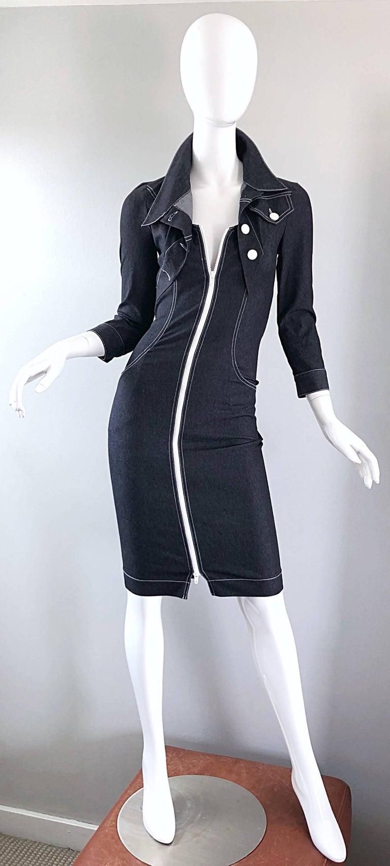Vintage Angelo Tarlazzi 1990s Denim Bodycon Faux Bolero 90s Blue Jean Dress For Sale 10