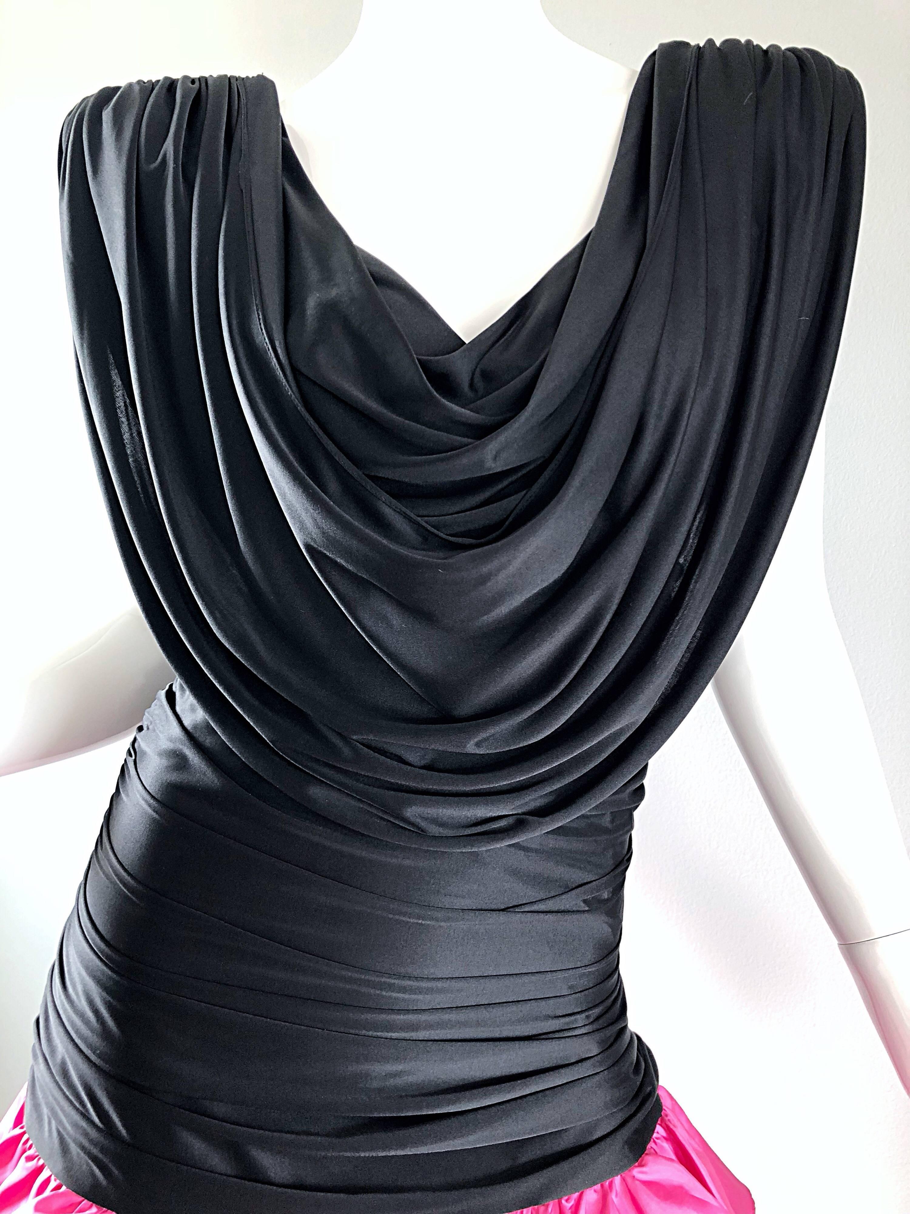 4982ad96a9b 1980s Hot Pink + Black Avant Garde Strong Shoulder Vintage 80s Cocktail  Dress For Sale at 1stdibs