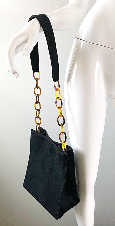 2c5965a68849 1990s Raquel Sitwell Black Suede Leather Tortoise Shell Vintage 90s  Shoulder Bag
