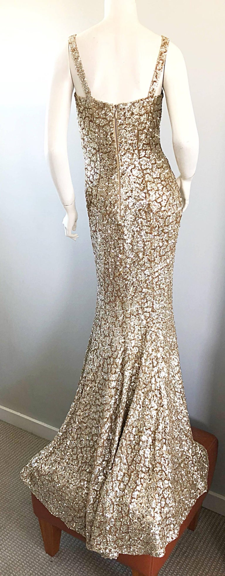 Monique Lhuillier Gorgeous Resort 2012 Gold Rose Gold Full Sequin ...