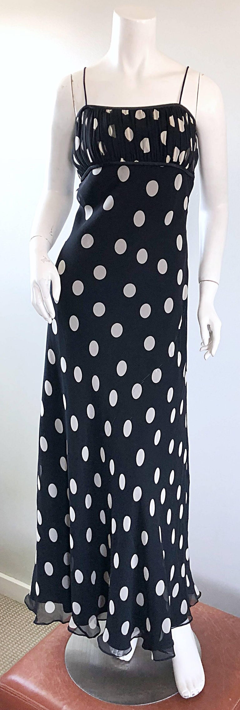 Chic vintage 90s ABRIELE MELANO black and white polka dot silk chiffon gown! Classic oversized polka dots on a spaghetti strap full length dress. Pleated details on the empire bodice with a forgiving loose fitting skirt. Hidden zipper up the side