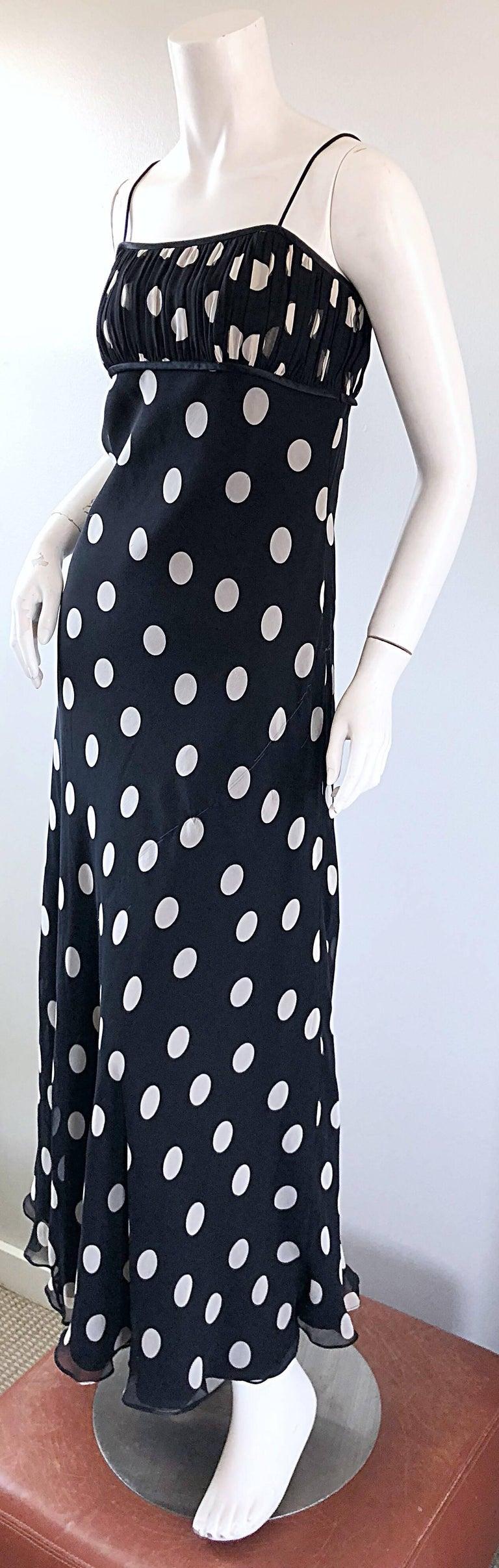 Women's 1990s Abriele Melano Black and White Polka Dot Silk Chiffon Maxi Dress 90s Gown For Sale
