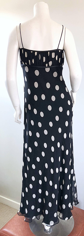 1990s Abriele Melano Black and White Polka Dot Silk Chiffon Maxi Dress 90s Gown For Sale 1