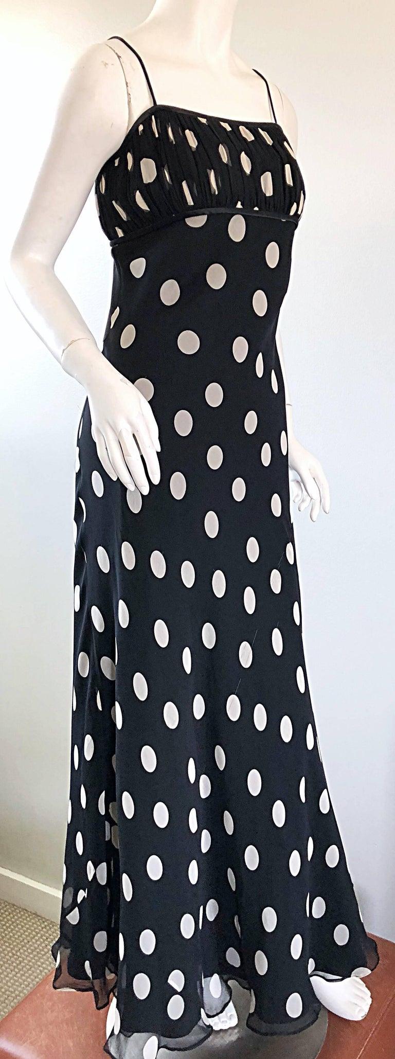 1990s Abriele Melano Black and White Polka Dot Silk Chiffon Maxi Dress 90s Gown For Sale 2