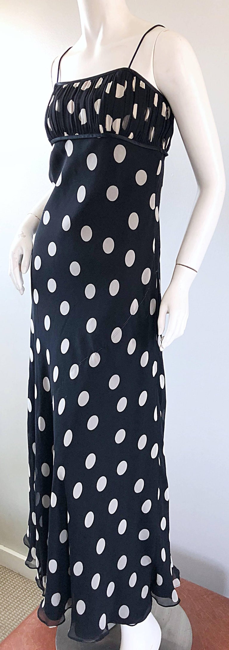 1990s Abriele Melano Black and White Polka Dot Silk Chiffon Maxi Dress 90s Gown For Sale 3