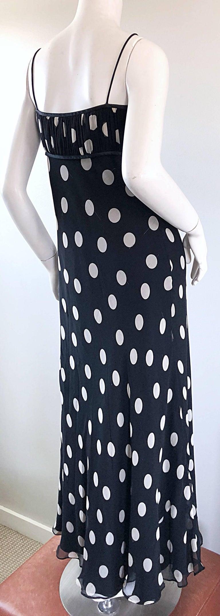 1990s Abriele Melano Black and White Polka Dot Silk Chiffon Maxi Dress 90s Gown For Sale 4