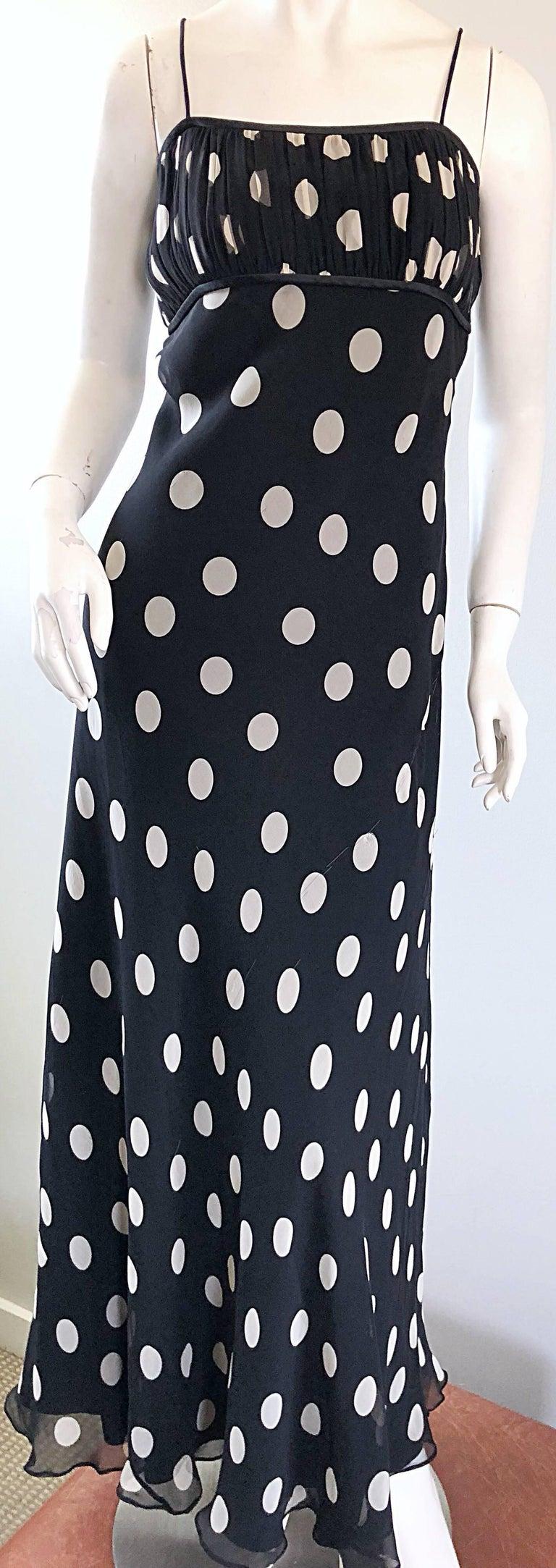 1990s Abriele Melano Black and White Polka Dot Silk Chiffon Maxi Dress 90s Gown For Sale 5
