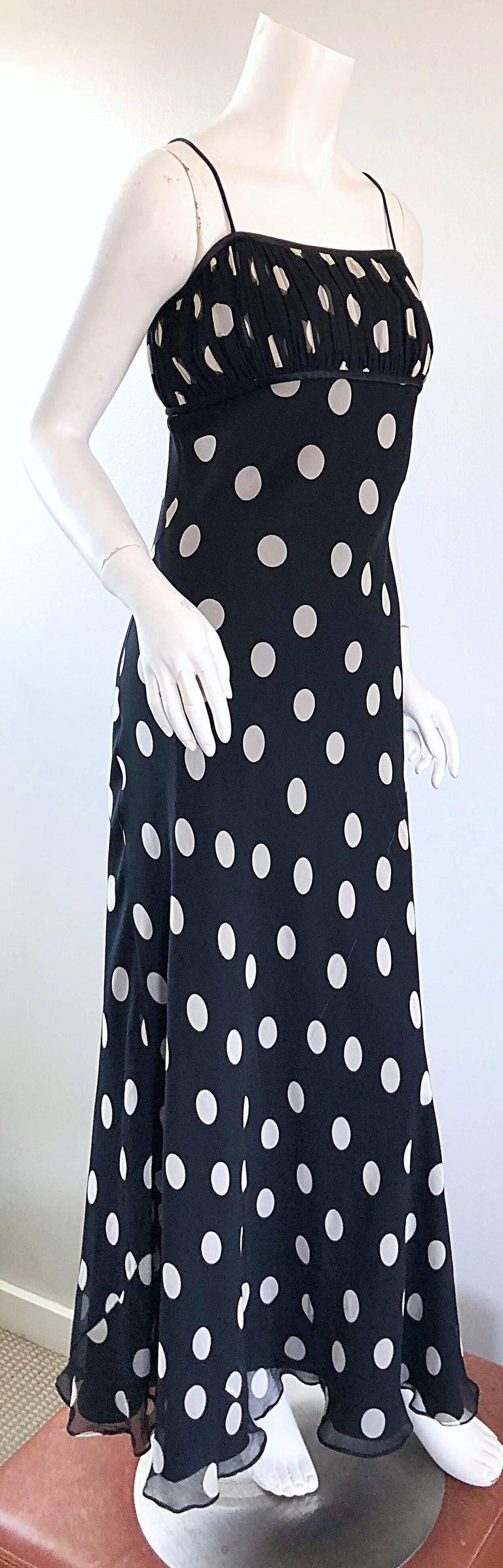 1990s Abriele Melano Black and White Polka Dot Silk Chiffon Maxi Dress 90s Gown For Sale 6