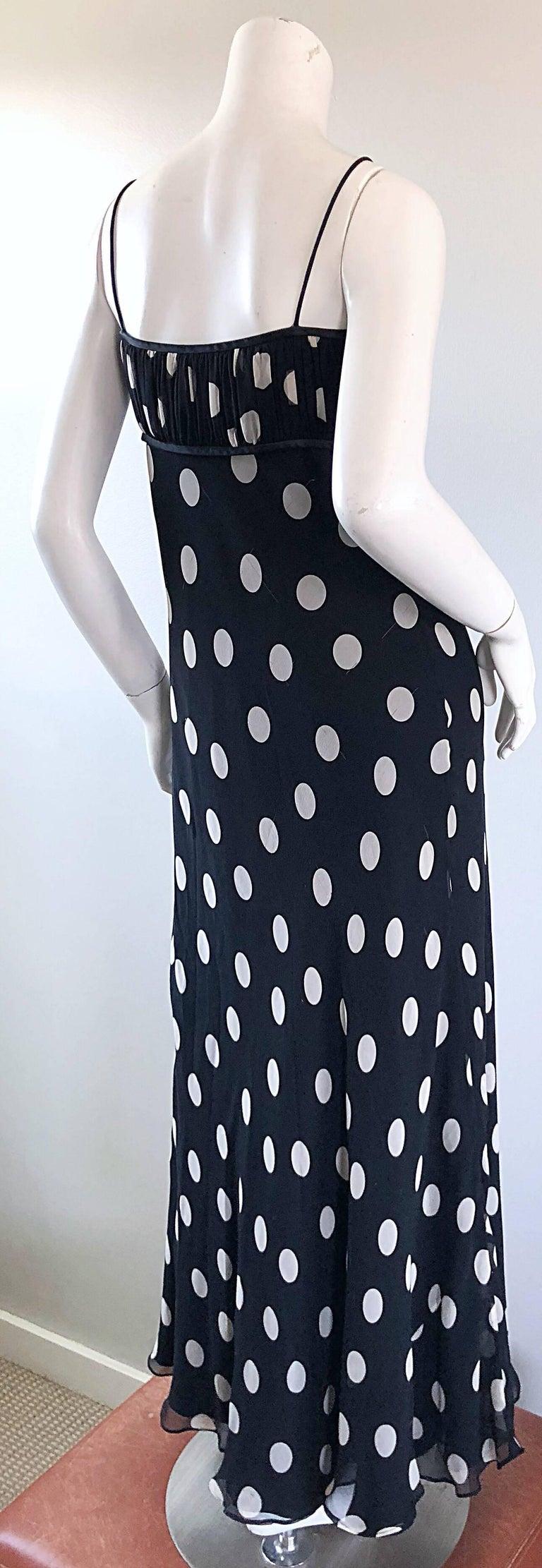 1990s Abriele Melano Black and White Polka Dot Silk Chiffon Maxi Dress 90s Gown For Sale 7