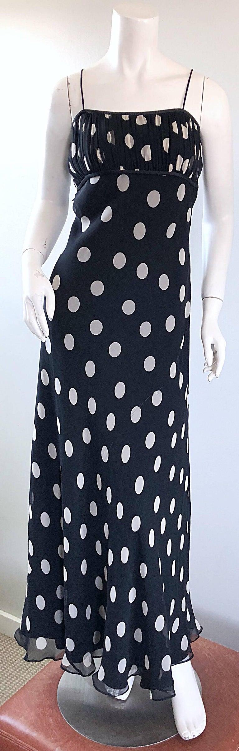 1990s Abriele Melano Black and White Polka Dot Silk Chiffon Maxi Dress 90s Gown For Sale 8