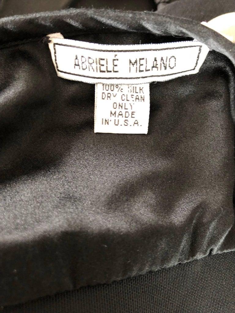 1990s Abriele Melano Black and White Polka Dot Silk Chiffon Maxi Dress 90s Gown For Sale 9