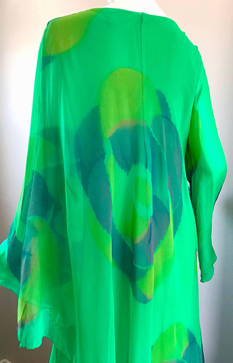 Vintage Travillia Couture 1970s Hand Painted Kelly Green Silk Chiffon 70s Gown For Sale 1