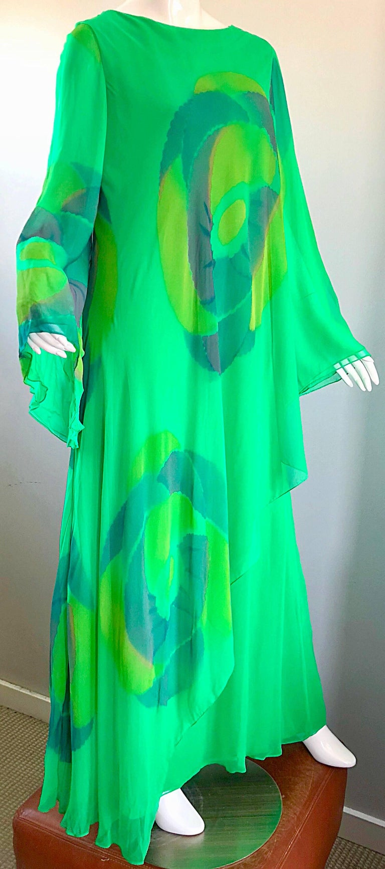 Vintage Travillia Couture 1970s Hand Painted Kelly Green Silk Chiffon 70s Gown For Sale 2