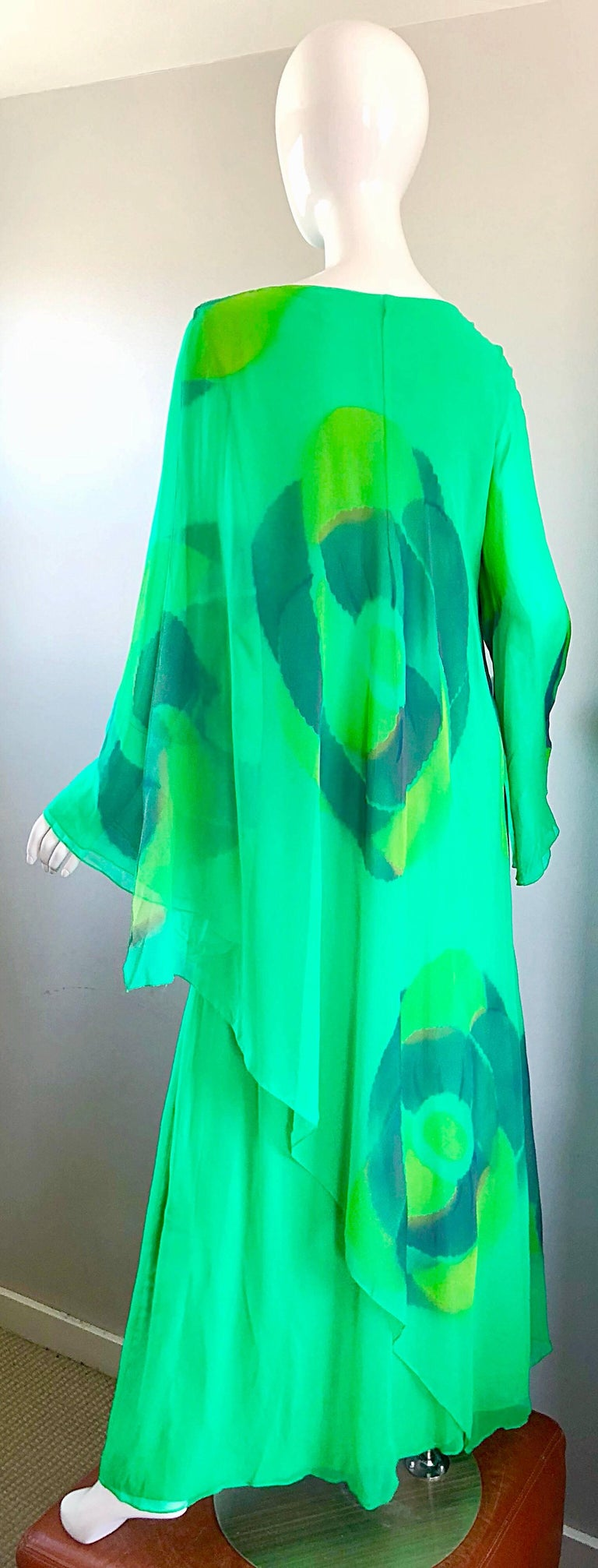 Vintage Travillia Couture 1970s Hand Painted Kelly Green Silk Chiffon 70s Gown For Sale 3