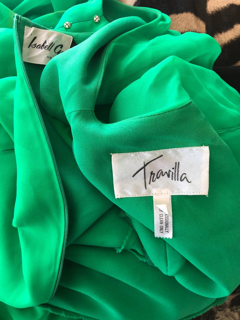 Vintage Travillia Couture 1970s Hand Painted Kelly Green Silk Chiffon 70s Gown For Sale 6