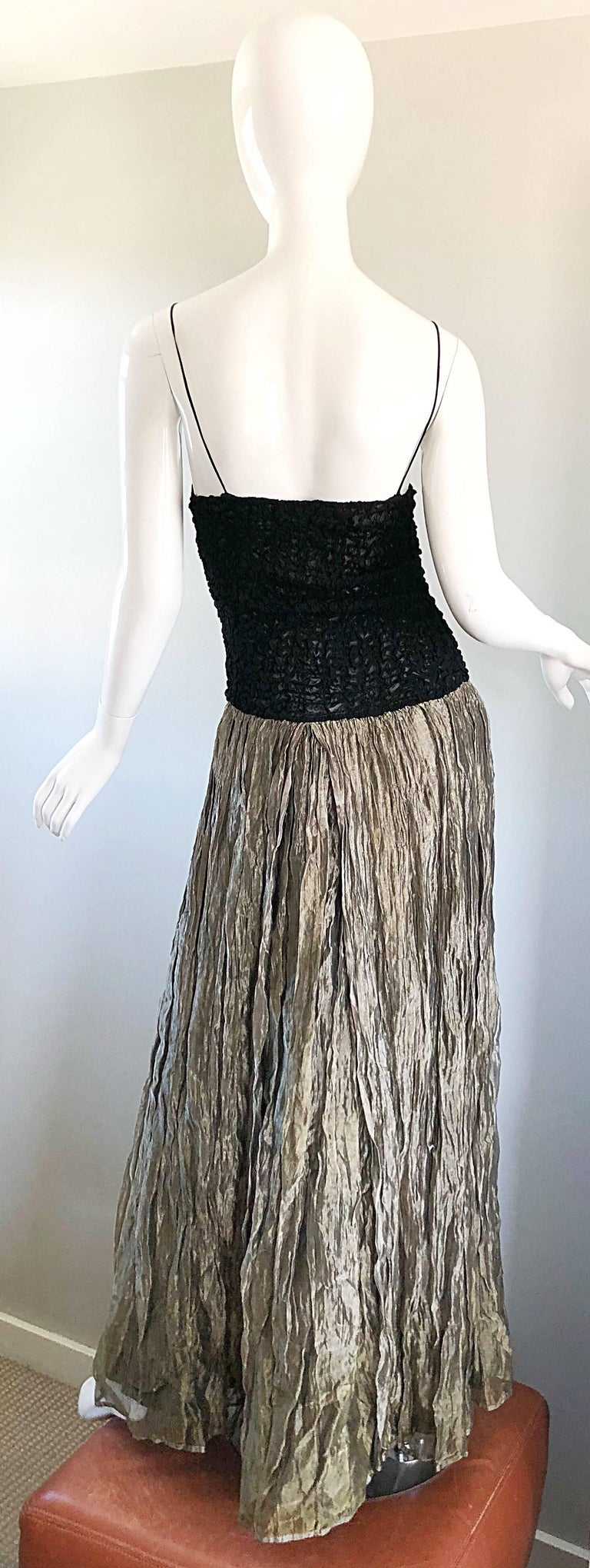 Vintage Morgane Le Fay 1990s Black + Gold Metallic Ombre 90s Evening Gown Dress In Good Condition In Chicago, IL
