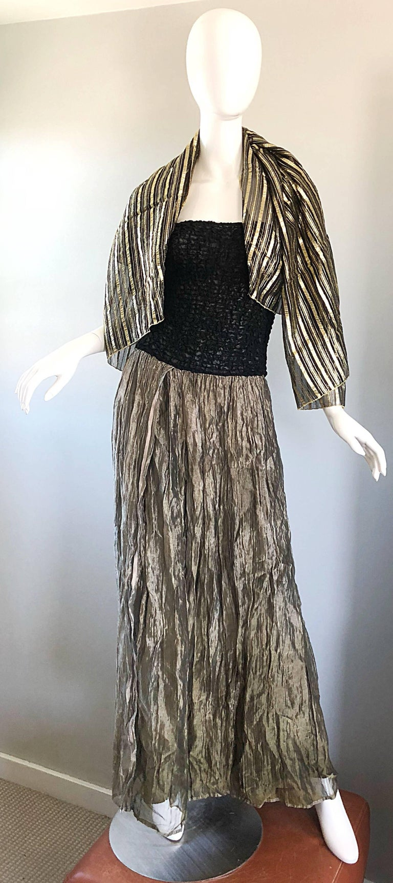 Women's Vintage Morgane Le Fay 1990s Black + Gold Metallic Ombre 90s Evening Gown Dress