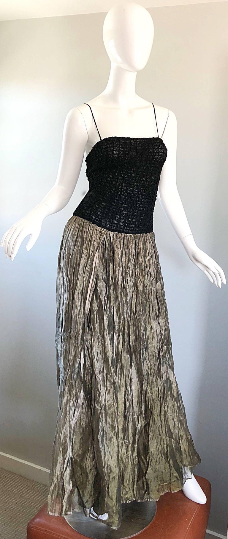 Vintage Morgane Le Fay 1990s Black + Gold Metallic Ombre 90s Evening Gown Dress 1