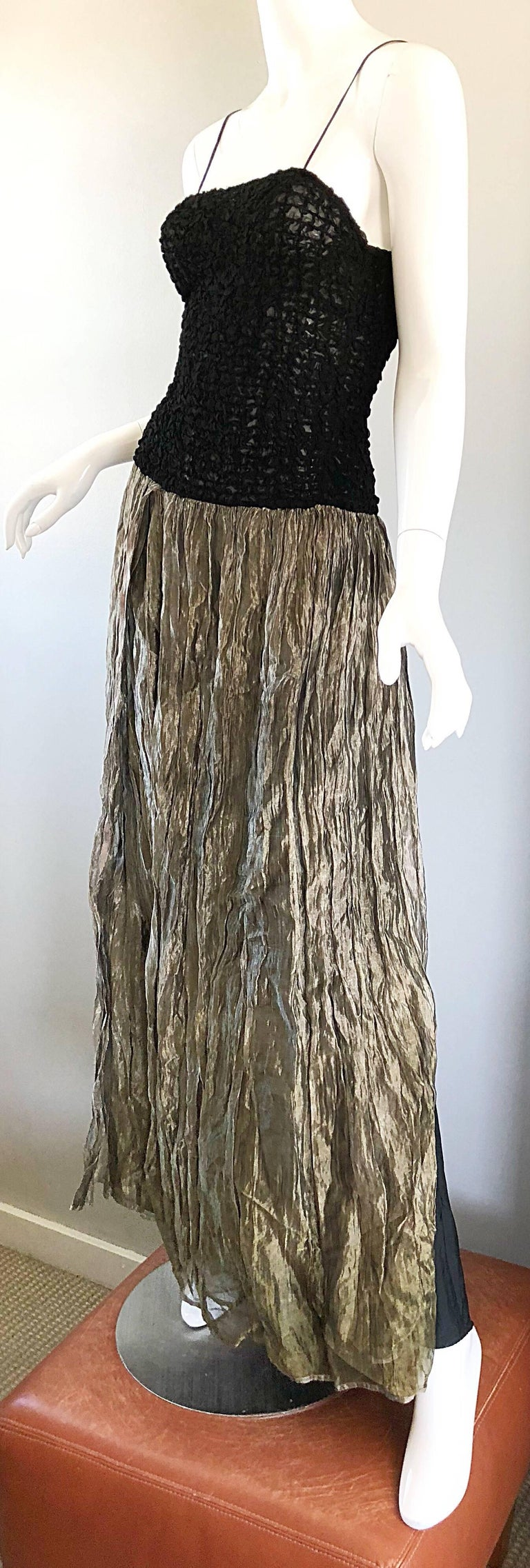 Vintage Morgane Le Fay 1990s Black + Gold Metallic Ombre 90s Evening Gown Dress 2