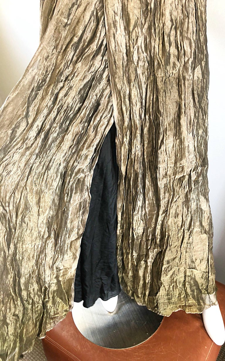 Vintage Morgane Le Fay 1990s Black + Gold Metallic Ombre 90s Evening Gown Dress 3