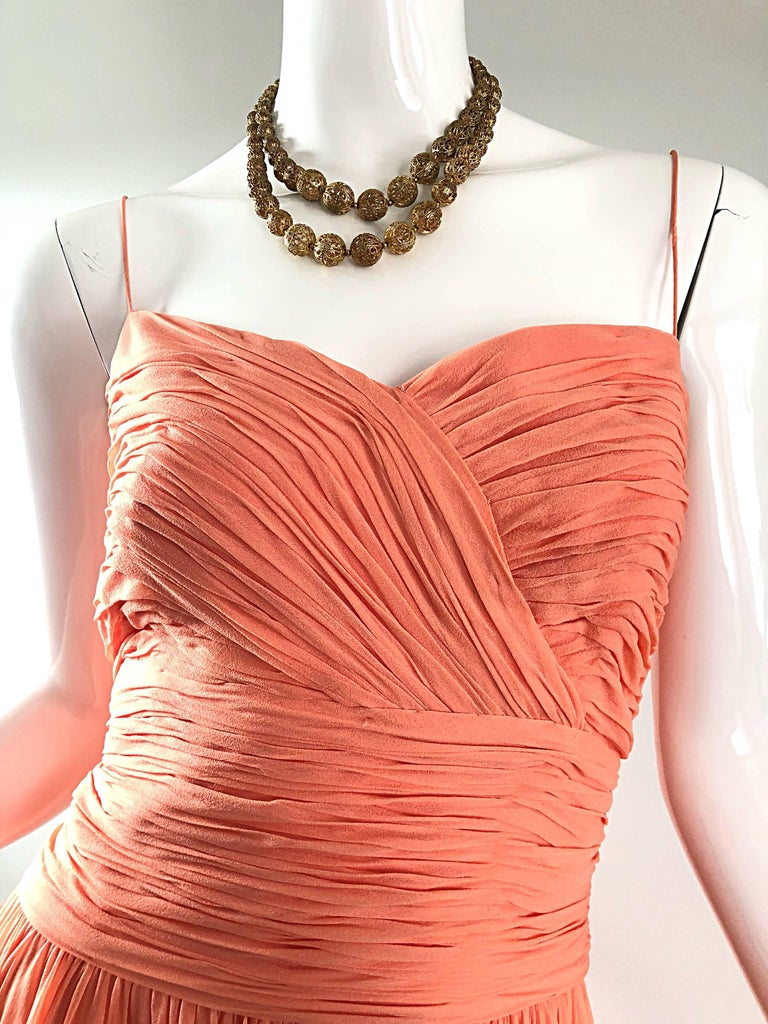 Orange Gorgeous 1950s Saks 5th Ave. Salmon / Coral Pink Silk Chiffon Vintage 50s Gown For Sale