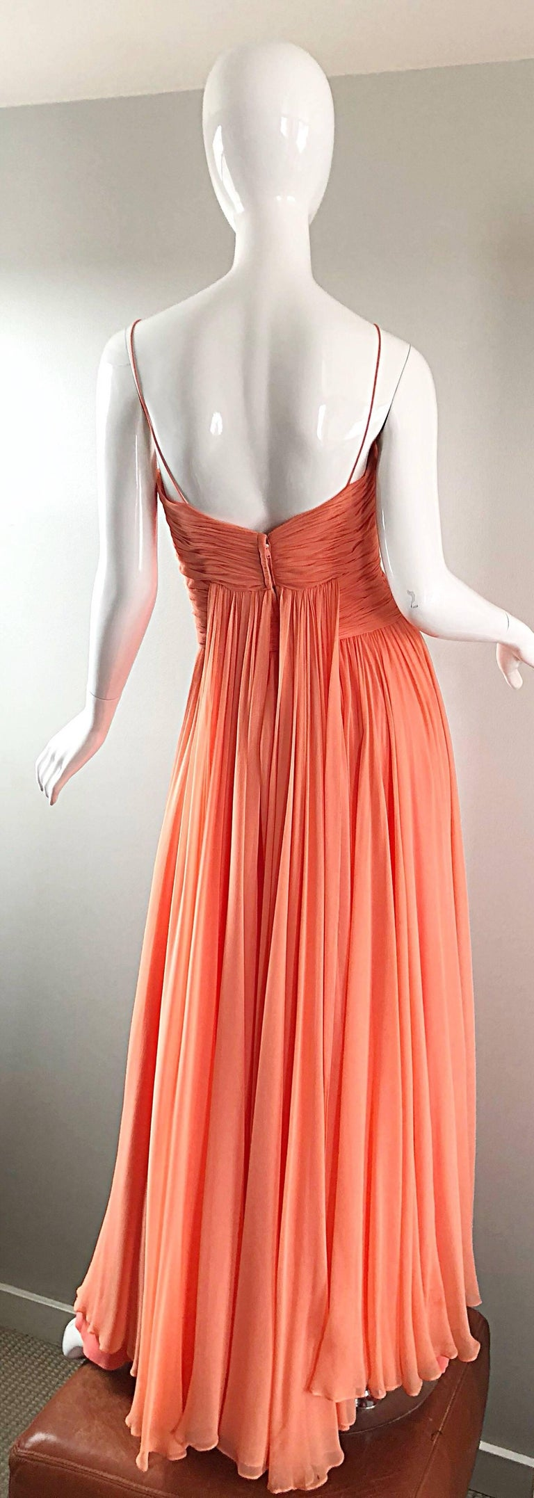 Women's Gorgeous 1950s Saks 5th Ave. Salmon / Coral Pink Silk Chiffon Vintage 50s Gown For Sale