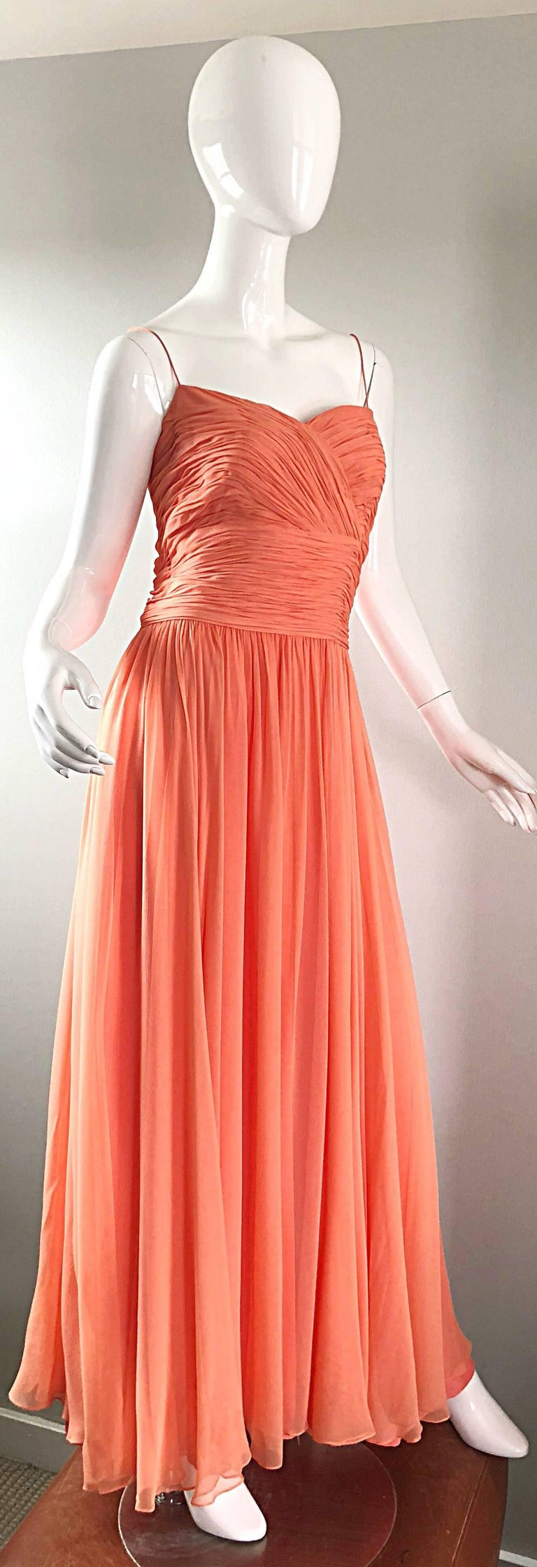 Gorgeous 1950s Saks 5th Ave. Salmon / Coral Pink Silk Chiffon Vintage 50s Gown In Excellent Condition For Sale In Chicago, IL