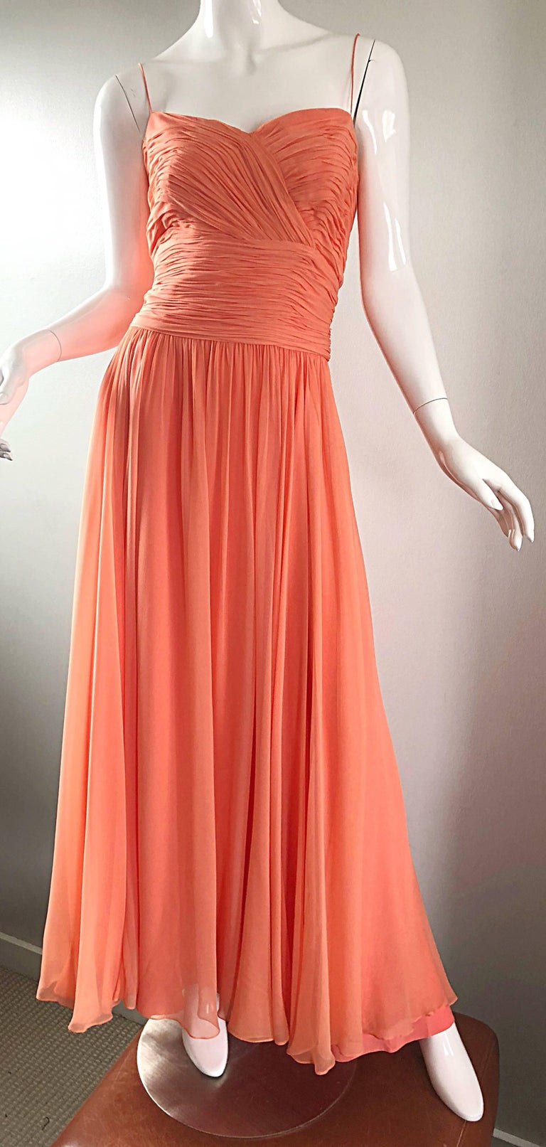 Gorgeous 1950s Saks 5th Ave. Salmon / Coral Pink Silk Chiffon Vintage 50s Gown For Sale 1
