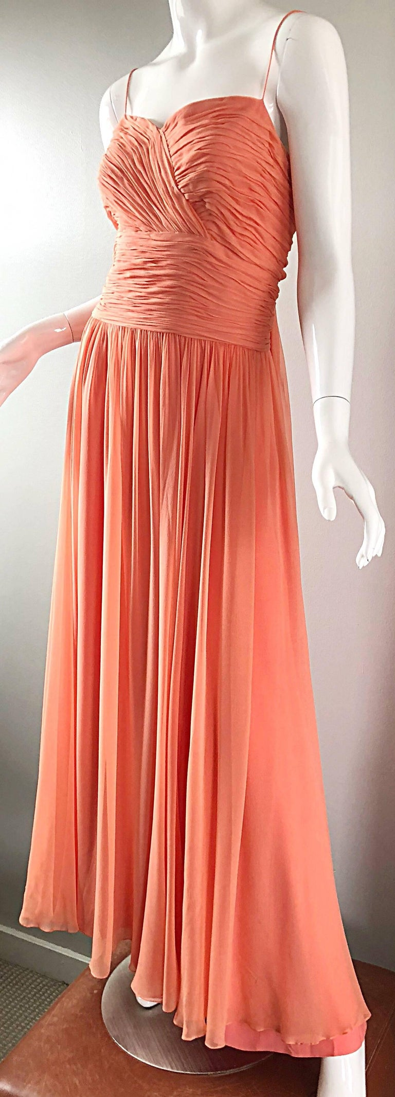 Gorgeous 1950s Saks 5th Ave. Salmon / Coral Pink Silk Chiffon Vintage 50s Gown For Sale 2