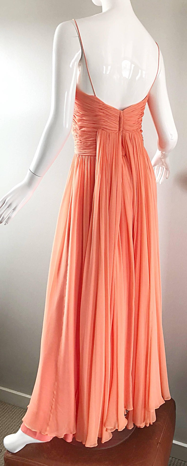 Gorgeous 1950s Saks 5th Ave. Salmon / Coral Pink Silk Chiffon Vintage 50s Gown For Sale 3