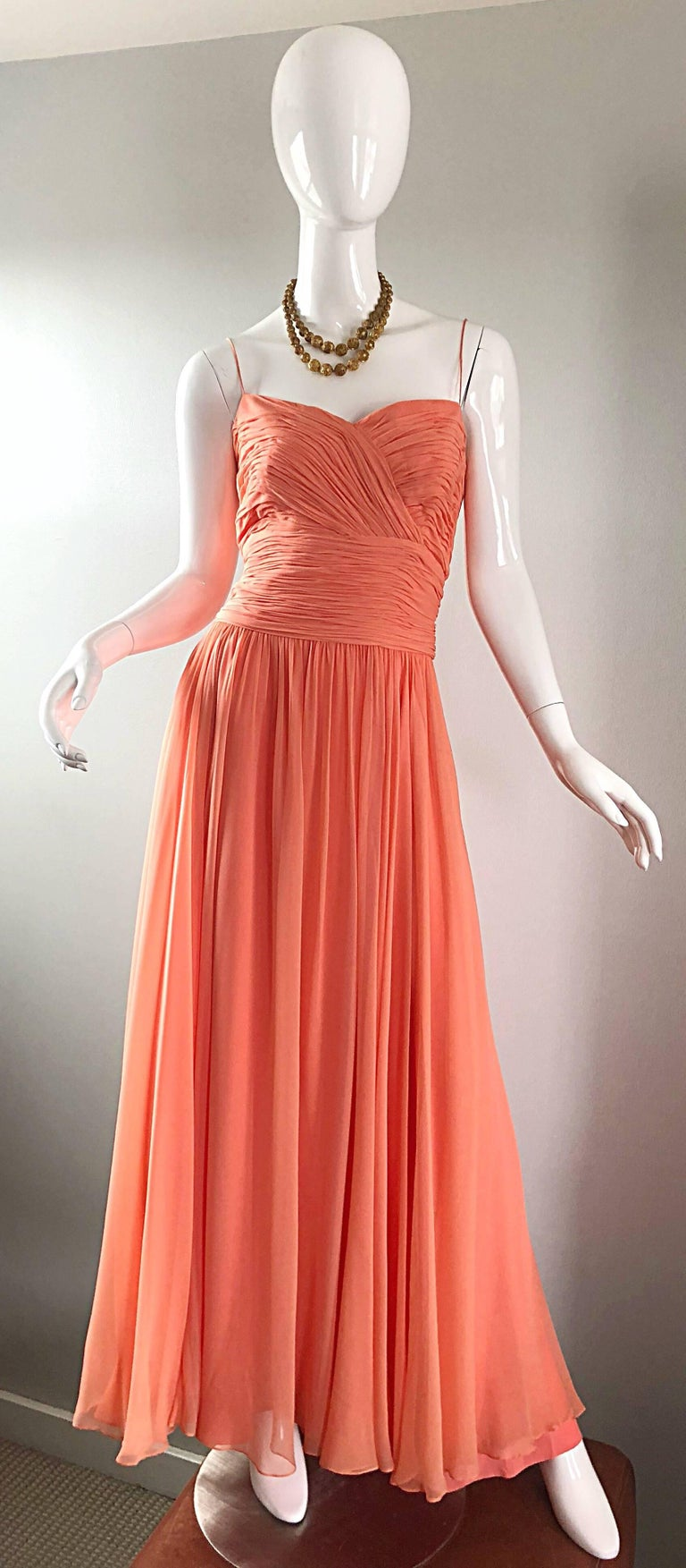 Gorgeous 1950s Saks 5th Ave. Salmon / Coral Pink Silk Chiffon Vintage 50s Gown For Sale 4