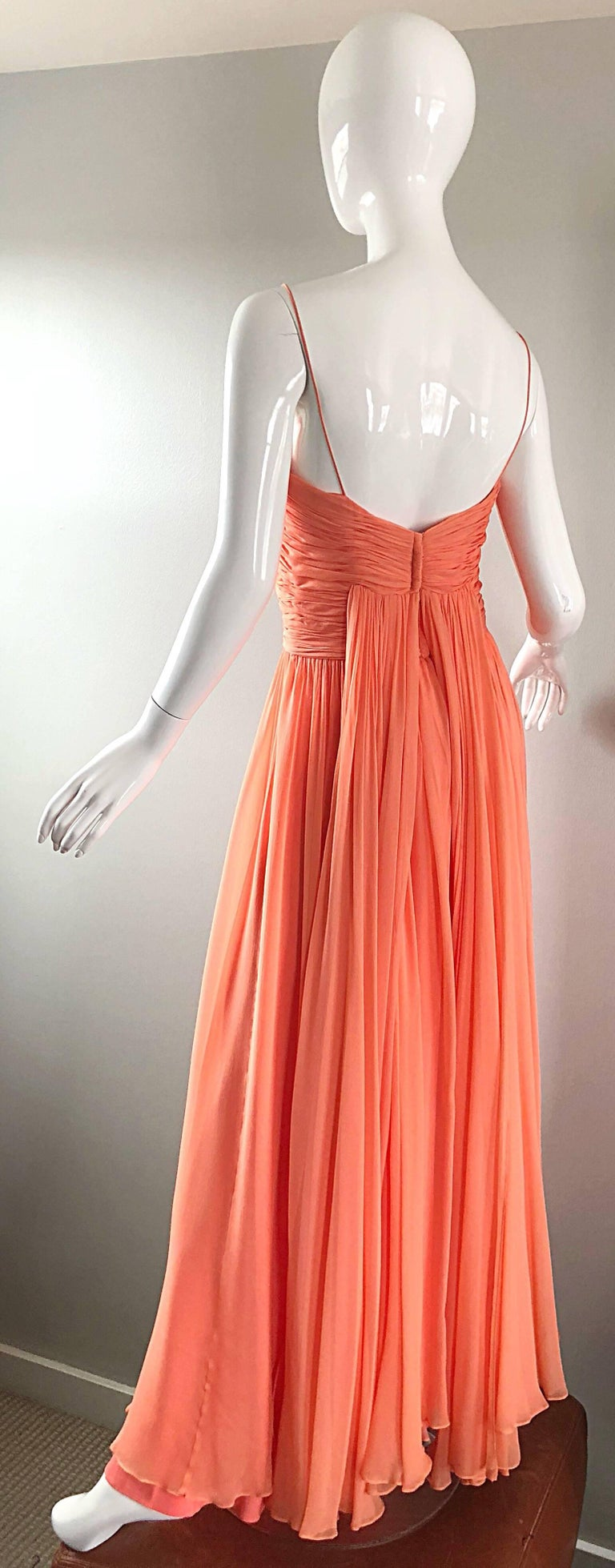 Gorgeous 1950s Saks 5th Ave. Salmon / Coral Pink Silk Chiffon Vintage 50s Gown For Sale 5