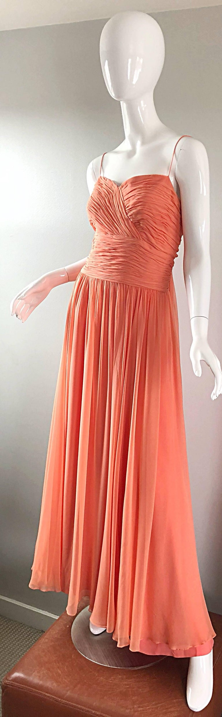 Gorgeous 1950s Saks 5th Ave. Salmon / Coral Pink Silk Chiffon Vintage 50s Gown For Sale 6