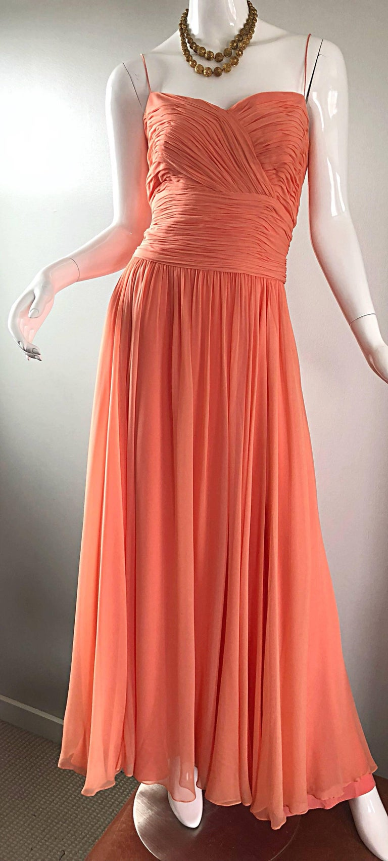 Gorgeous 1950s Saks 5th Ave. Salmon / Coral Pink Silk Chiffon Vintage 50s Gown For Sale 7