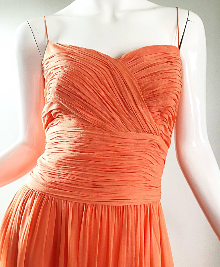Gorgeous 1950s Saks 5th Ave. Salmon / Coral Pink Silk Chiffon Vintage 50s Gown For Sale 8