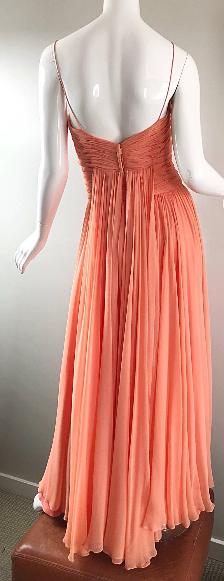 Gorgeous 1950s Saks 5th Ave. Salmon / Coral Pink Silk Chiffon Vintage 50s Gown For Sale 9