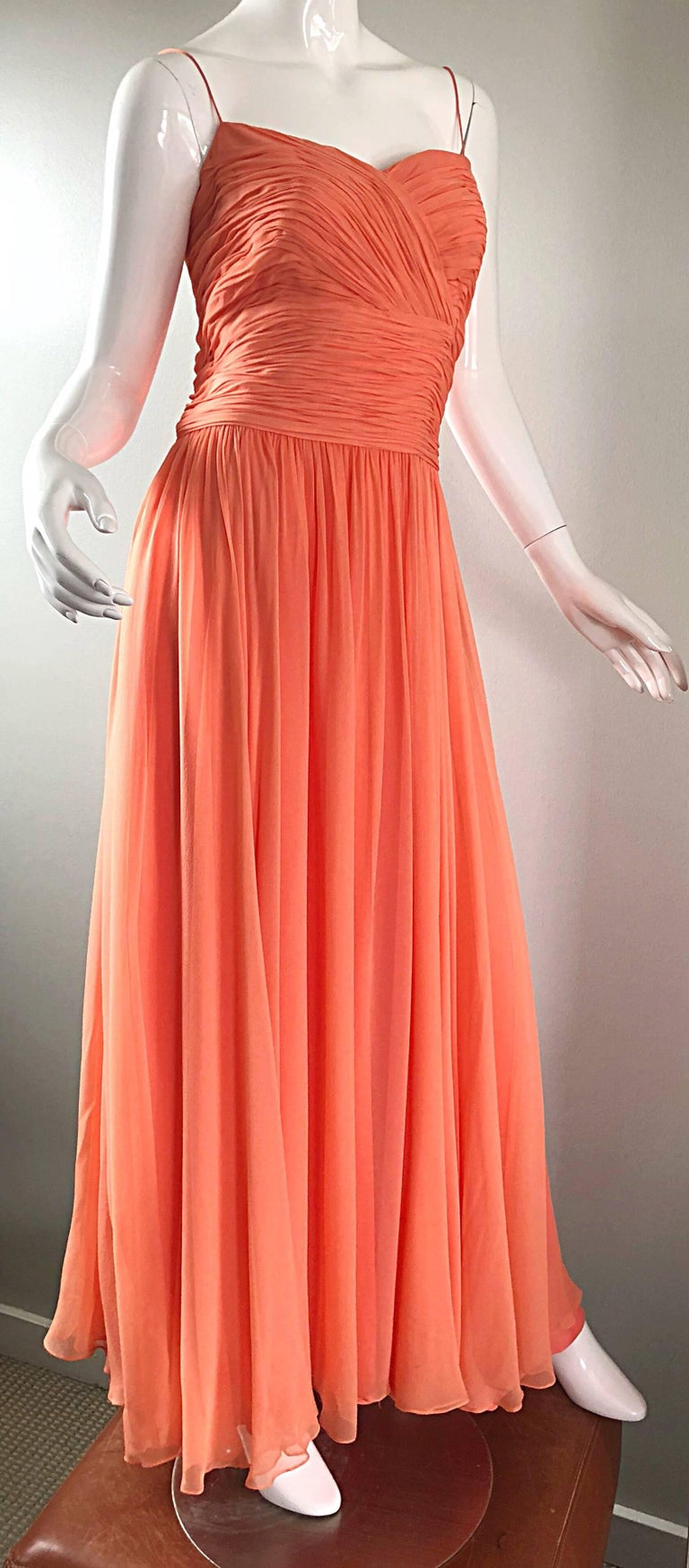 Gorgeous 1950s Saks 5th Ave. Salmon / Coral Pink Silk Chiffon Vintage 50s Gown For Sale 10