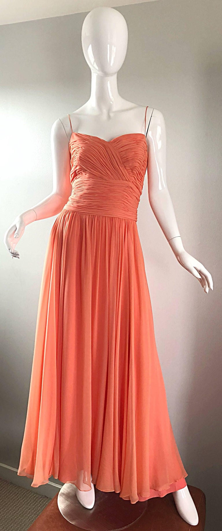Gorgeous 1950s Saks 5th Ave. Salmon / Coral Pink Silk Chiffon Vintage 50s Gown For Sale 11