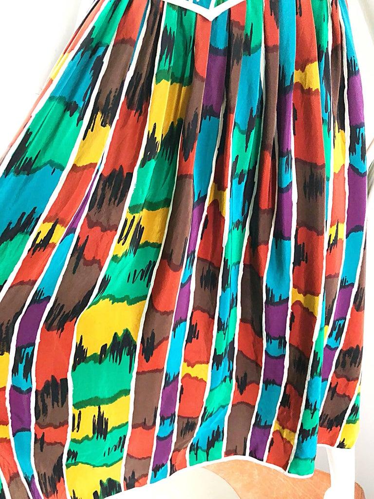 Women's Vintage Oscar de la Renta Size 8 / 10 Kaleidoscope Print Silk Sleeveless Dress For Sale