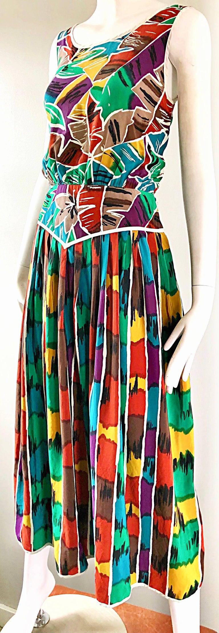 Vintage Oscar de la Renta Size 8 / 10 Kaleidoscope Print Silk Sleeveless Dress For Sale 1