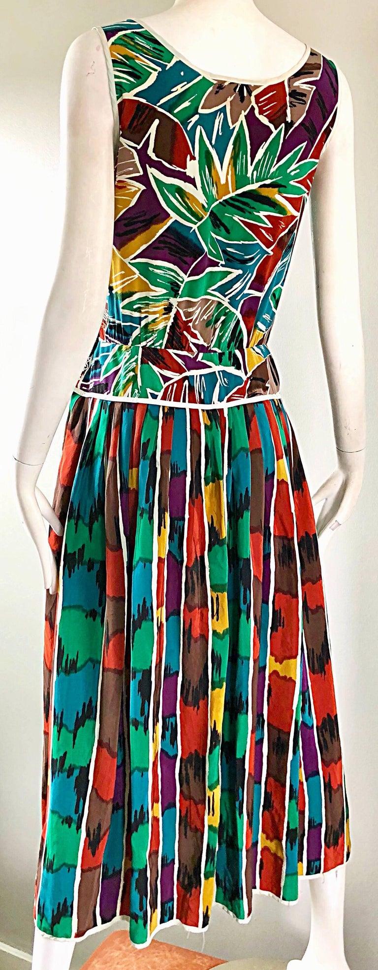 Vintage Oscar de la Renta Size 8 / 10 Kaleidoscope Print Silk Sleeveless Dress For Sale 4