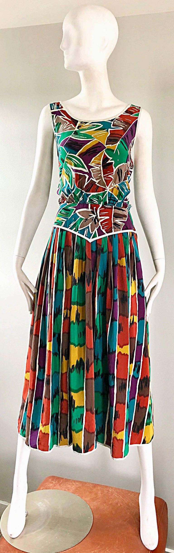 Vintage Oscar de la Renta Size 8 / 10 Kaleidoscope Print Silk Sleeveless Dress For Sale 5
