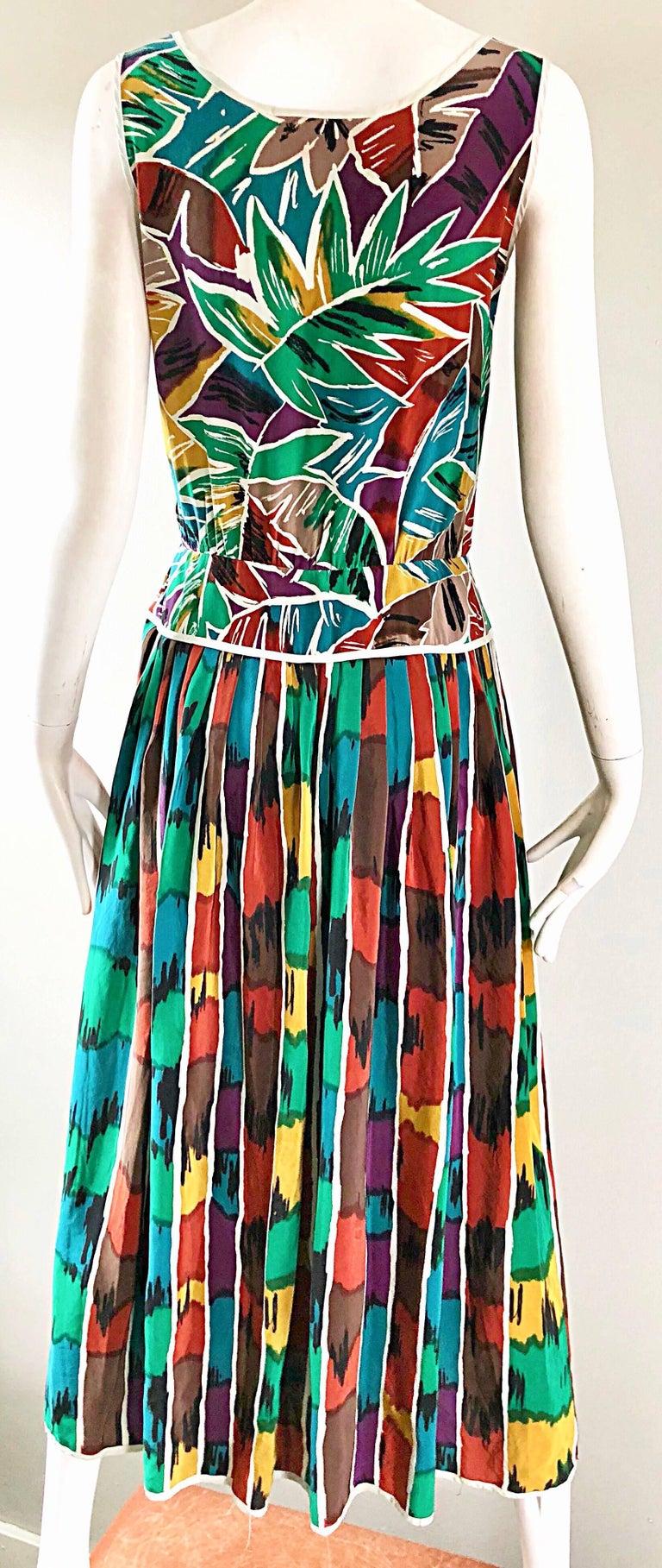 Vintage Oscar de la Renta Size 8 / 10 Kaleidoscope Print Silk Sleeveless Dress For Sale 6