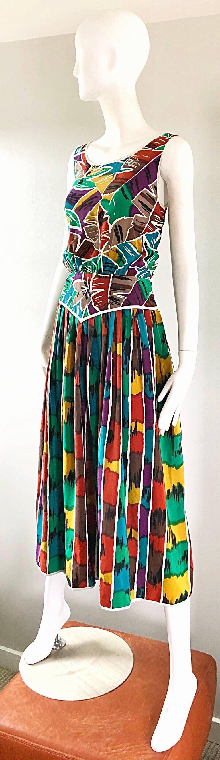 Vintage Oscar de la Renta Size 8 / 10 Kaleidoscope Print Silk Sleeveless Dress For Sale 8